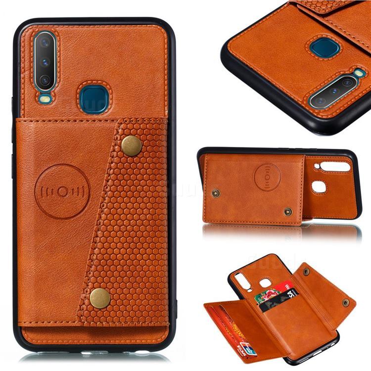 Retro Multifunction Card Slots Stand Leather Coated Phone Back Cover for Huawei Y7p - Brown