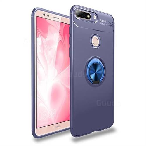 Auto Focus Invisible Ring Holder Soft Phone Case for Huawei Y7 Pro (2018) /  Y7 Prime(2018) / Nova2 Lite - Blue