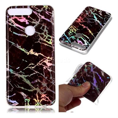 Black Brown Marble Pattern Bright Color Laser Soft TPU Case for Huawei Y7 Pro (2018) / Y7 Prime(2018) / Nova2 Lite