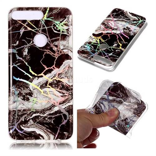 White Black Marble Pattern Bright Color Laser Soft TPU Case for Huawei Y7 Pro (2018) / Y7 Prime(2018) / Nova2 Lite