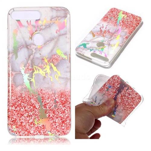 Powder Sandstone Marble Pattern Bright Color Laser Soft TPU Case for Huawei Y7 Pro (2018) / Y7 Prime(2018) / Nova2 Lite