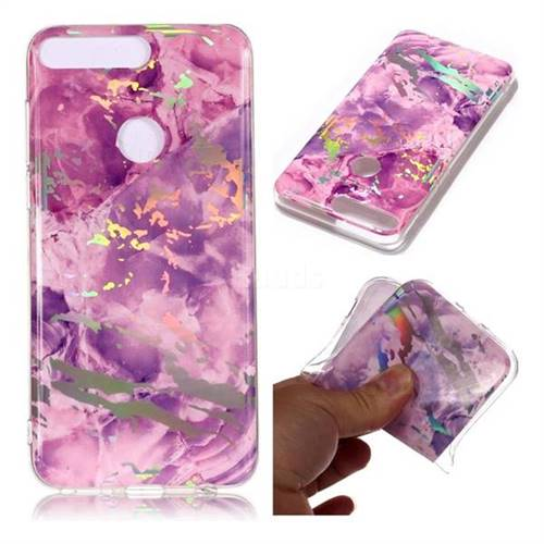 Purple Marble Pattern Bright Color Laser Soft TPU Case for Huawei Y7 Pro (2018) / Y7 Prime(2018) / Nova2 Lite