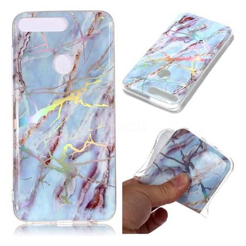 Light Blue Marble Pattern Bright Color Laser Soft TPU Case for Huawei Y7 Pro (2018) / Y7 Prime(2018) / Nova2 Lite