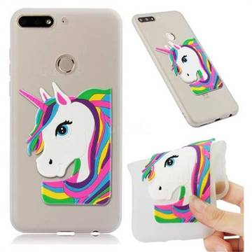 Rainbow Unicorn Soft 3D Silicone Case for Huawei Y7 Pro (2018) / Y7 Prime(2018) / Nova2 Lite - Translucent White