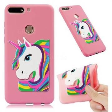 Rainbow Unicorn Soft 3D Silicone Case for Huawei Y7 Pro (2018) / Y7 Prime(2018) / Nova2 Lite - Pink