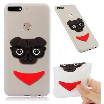 Glasses Dog Soft 3D Silicone Case for Huawei Y7 Pro (2018) / Y7 Prime(2018) / Nova2 Lite - Translucent White