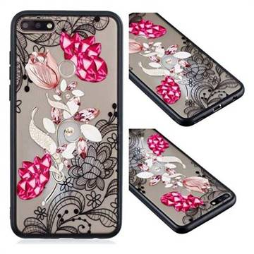 Tulip Lace Diamond Flower Soft TPU Back Cover for Huawei Y7 Pro (2018) / Y7 Prime(2018) / Nova2 Lite