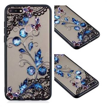 Butterfly Lace Diamond Flower Soft TPU Back Cover for Huawei Y7 Pro (2018) / Y7 Prime(2018) / Nova2 Lite