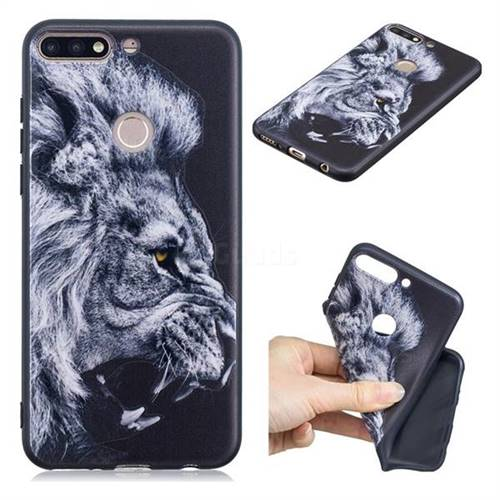 Lion 3D Embossed Relief Black TPU Cell Phone Back Cover for Huawei Y7 Pro (2018) / Y7 Prime(2018) / Nova2 Lite