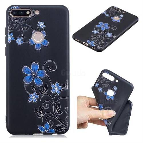 Little Blue Flowers 3D Embossed Relief Black TPU Cell Phone Back Cover for Huawei Y7 Pro (2018) / Y7 Prime(2018) / Nova2 Lite