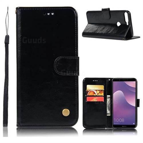 Luxury Retro Leather Wallet Case for Huawei Y7 Pro (2018) / Y7 Prime(2018) / Nova2 Lite - Black