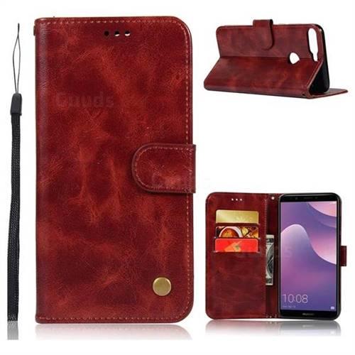 Luxury Retro Leather Wallet Case for Huawei Y7 Pro (2018) / Y7 Prime(2018) / Nova2 Lite - Wine Red