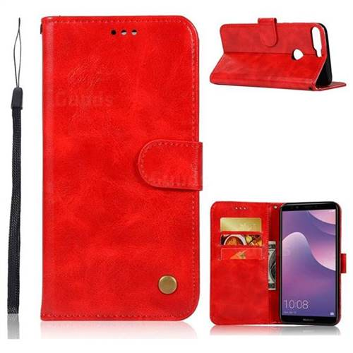 Luxury Retro Leather Wallet Case for Huawei Y7 Pro (2018) / Y7 Prime(2018) / Nova2 Lite - Red