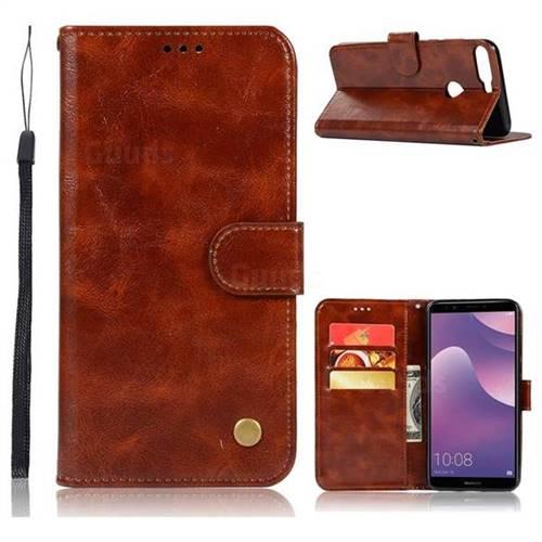 Luxury Retro Leather Wallet Case for Huawei Y7 Pro (2018) / Y7 Prime(2018) / Nova2 Lite - Brown