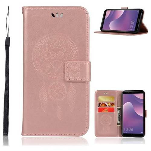 Intricate Embossing Owl Campanula Leather Wallet Case for Huawei Y7 Pro (2018) / Y7 Prime(2018) / Nova2 Lite - Rose Gold
