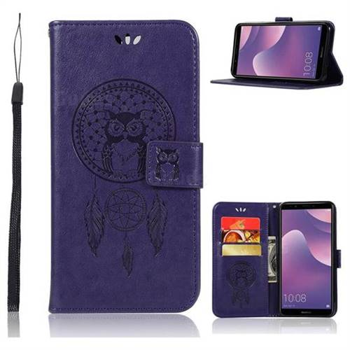 Intricate Embossing Owl Campanula Leather Wallet Case for Huawei Y7 Pro (2018) / Y7 Prime(2018) / Nova2 Lite - Purple
