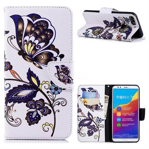 Butterflies and Flowers Leather Wallet Case for Huawei Y7 Pro (2018) / Y7 Prime(2018) / Nova2 Lite