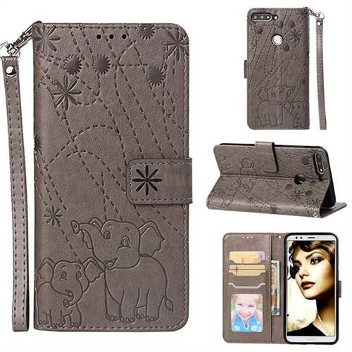 Embossing Fireworks Elephant Leather Wallet Case for Huawei Y7 Pro (2018) / Y7 Prime(2018) / Nova2 Lite - Gray