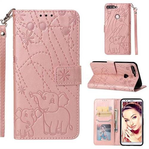 Embossing Fireworks Elephant Leather Wallet Case for Huawei Y7 Pro (2018) / Y7 Prime(2018) / Nova2 Lite - Rose Gold