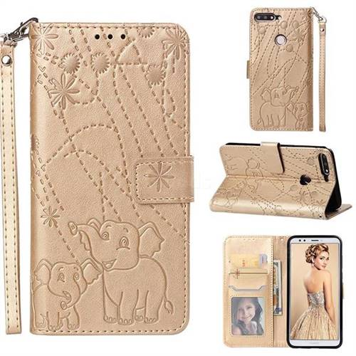 Embossing Fireworks Elephant Leather Wallet Case for Huawei Y7 Pro (2018) / Y7 Prime(2018) / Nova2 Lite - Golden