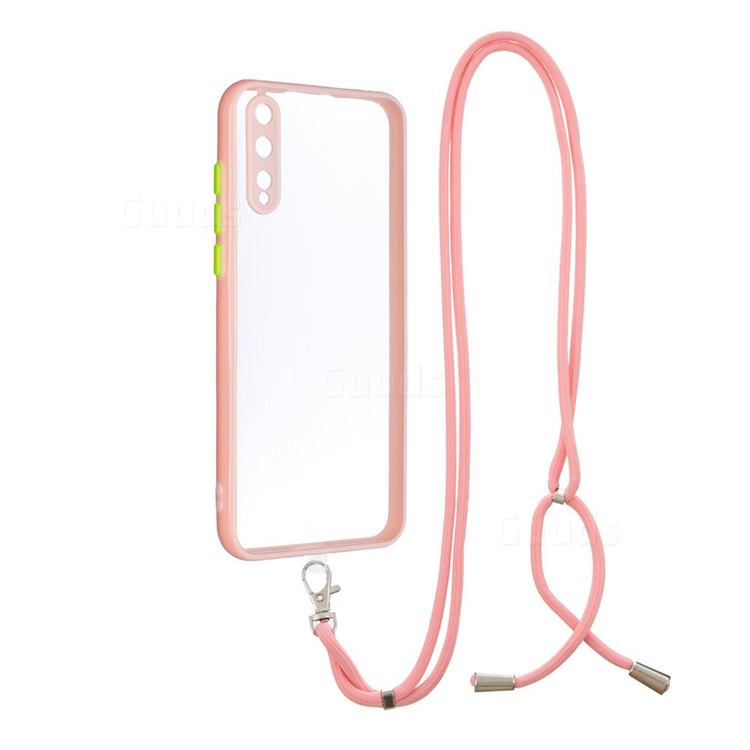 Necklace Cross-body Lanyard Strap Cord Phone Case Cover for Huawei Y8p - Pink