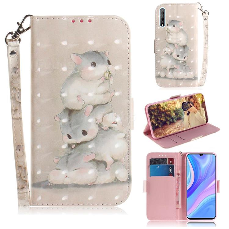 Three Squirrels 3D Painted Leather Wallet Phone Case for Huawei Y8p