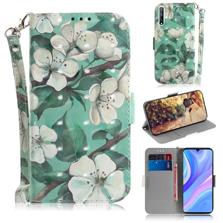 Watercolor Flower 3D Painted Leather Wallet Phone Case for Huawei Y8p