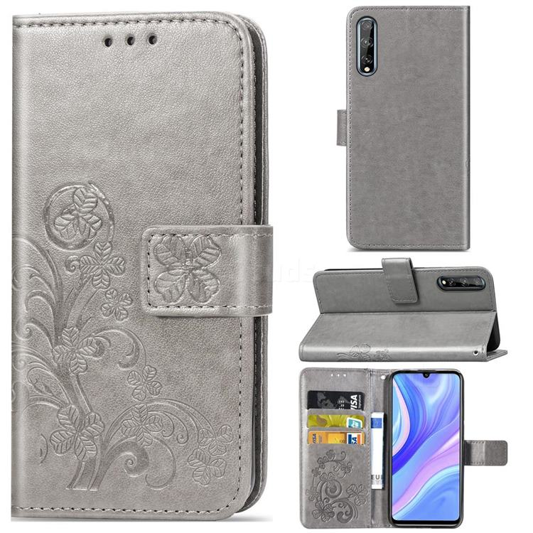 Embossing Imprint Four-Leaf Clover Leather Wallet Case for Huawei Y8p - Grey