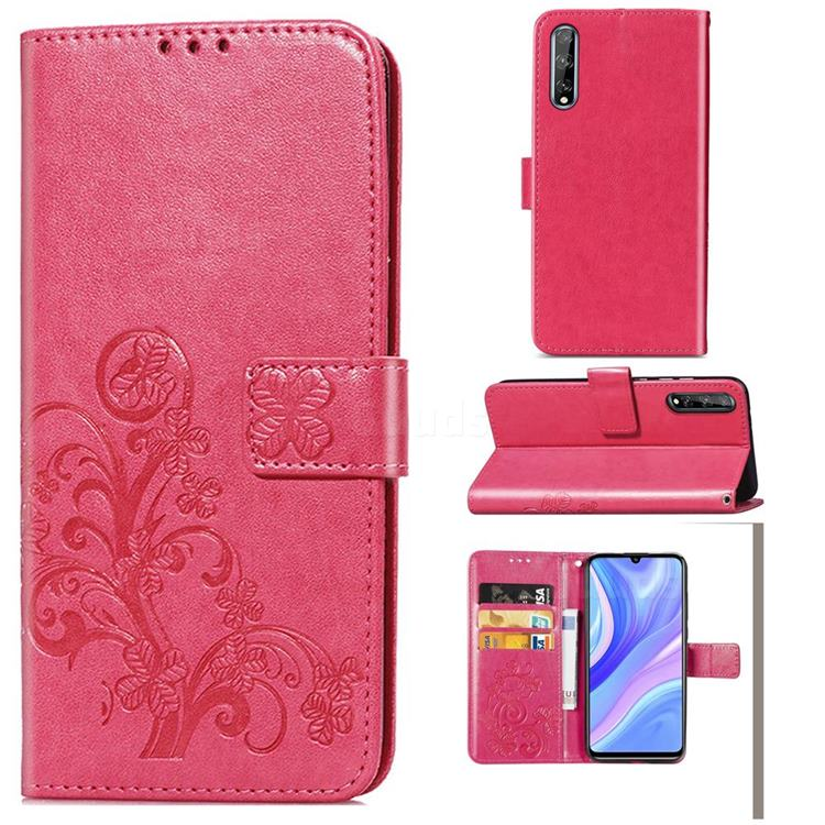 Embossing Imprint Four-Leaf Clover Leather Wallet Case for Huawei Y8p - Rose Red