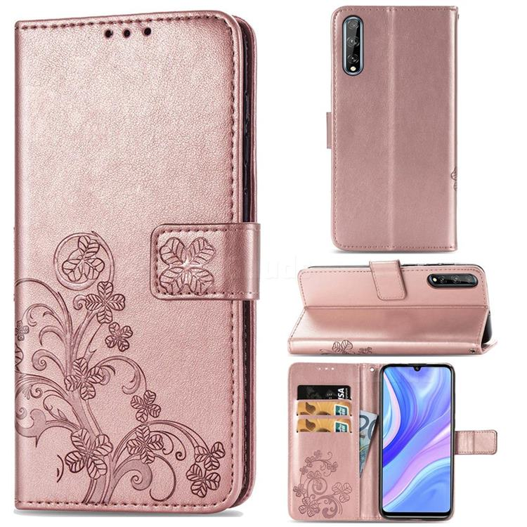 Embossing Imprint Four-Leaf Clover Leather Wallet Case for Huawei Y8p - Rose Gold