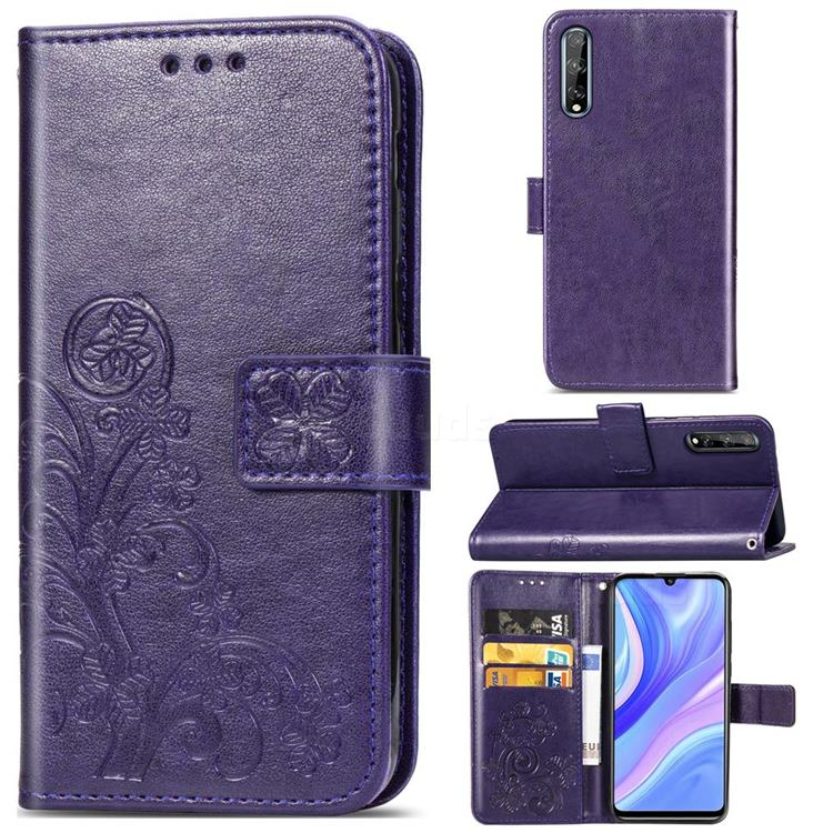 Embossing Imprint Four-Leaf Clover Leather Wallet Case for Huawei Y8p - Purple