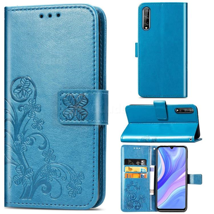 Embossing Imprint Four-Leaf Clover Leather Wallet Case for Huawei Y8p - Blue