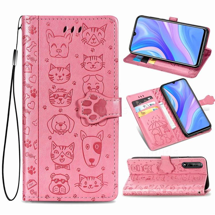 Embossing Dog Paw Kitten and Puppy Leather Wallet Case for Huawei Y8p - Pink