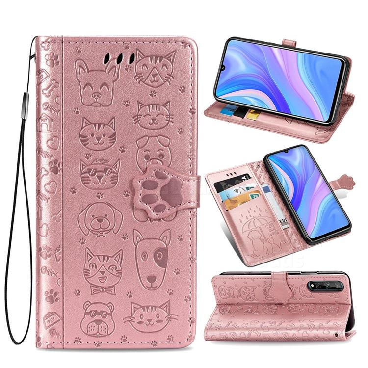 Embossing Dog Paw Kitten and Puppy Leather Wallet Case for Huawei Y8p - Rose Gold