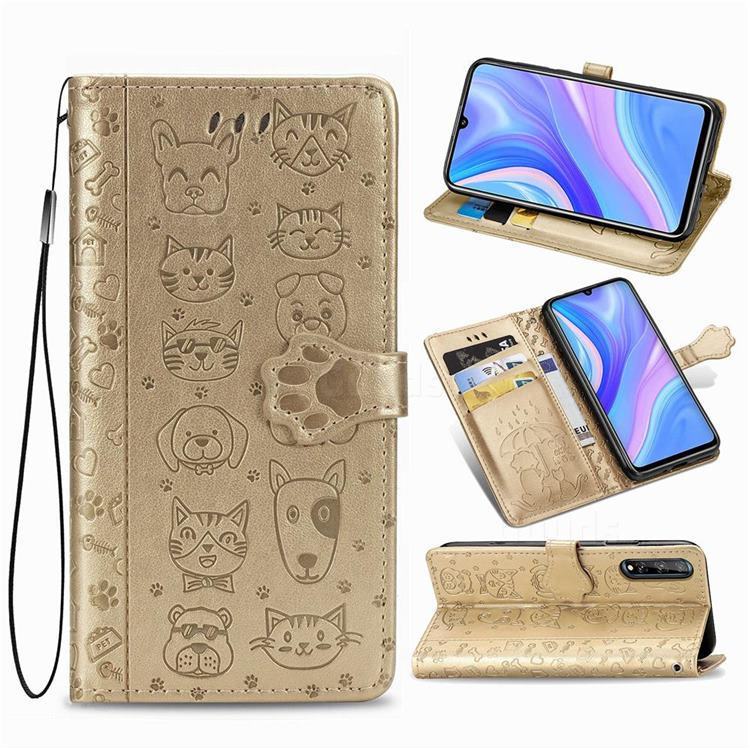 Embossing Dog Paw Kitten and Puppy Leather Wallet Case for Huawei Y8p - Champagne Gold