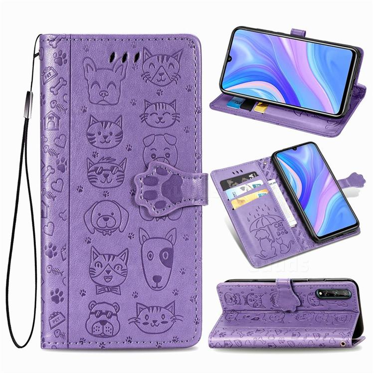 Embossing Dog Paw Kitten and Puppy Leather Wallet Case for Huawei Y8p - Purple