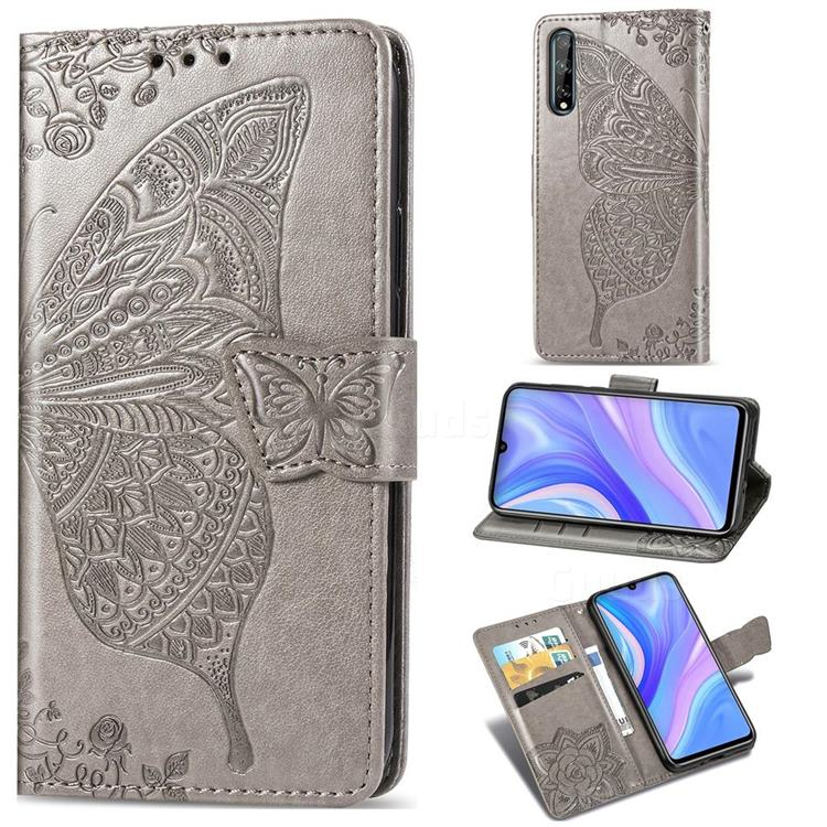 Embossing Mandala Flower Butterfly Leather Wallet Case for Huawei Y8p - Gray
