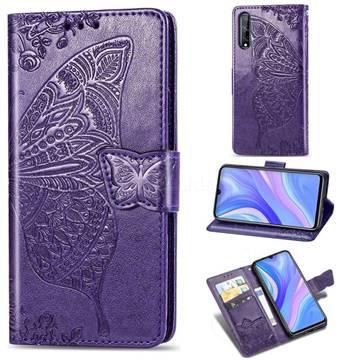 Embossing Mandala Flower Butterfly Leather Wallet Case for Huawei Y8p - Dark Purple
