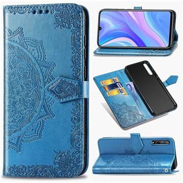 Embossing Imprint Mandala Flower Leather Wallet Case for Huawei Y8p - Blue