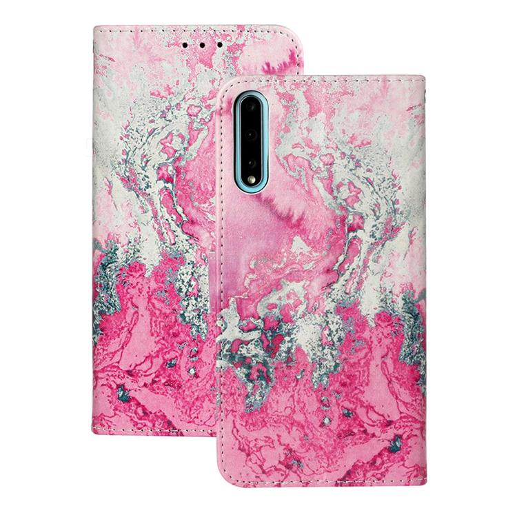 Pink Seawater PU Leather Wallet Case for Huawei Y8p