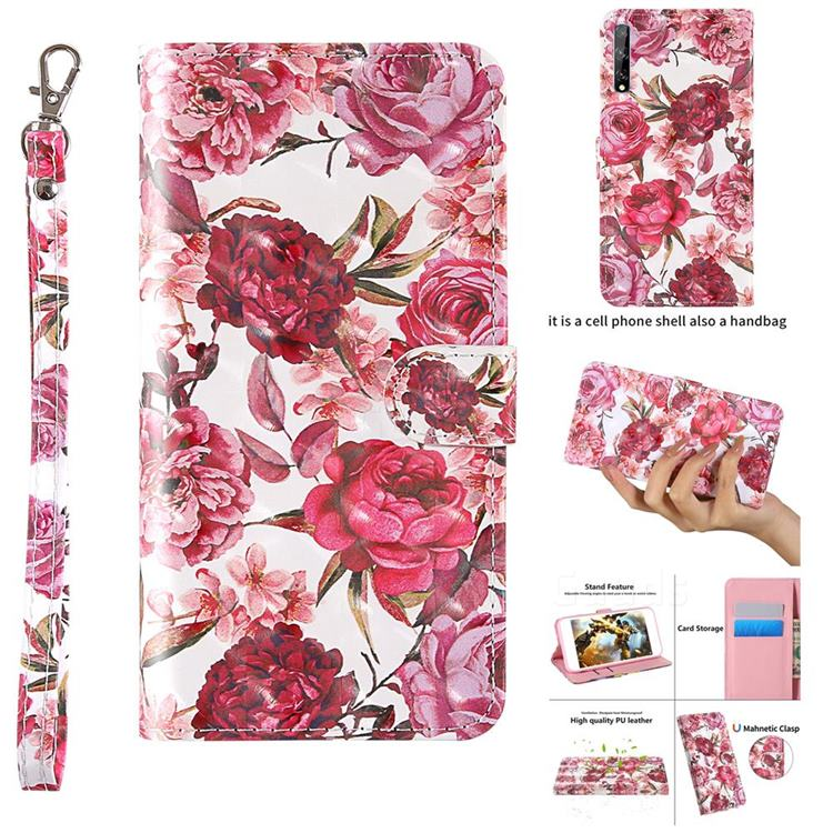 Red Flower 3D Painted Leather Wallet Case for Huawei Y8p