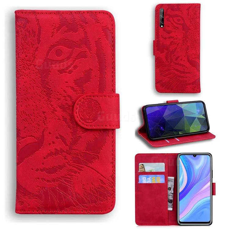 Intricate Embossing Tiger Face Leather Wallet Case for Huawei Y8p - Red