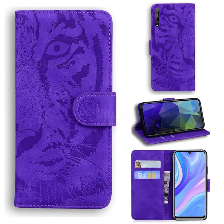Intricate Embossing Tiger Face Leather Wallet Case for Huawei Y8p - Purple