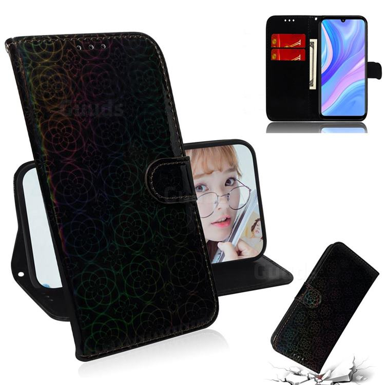 Laser Circle Shining Leather Wallet Phone Case for Huawei Y8p - Black