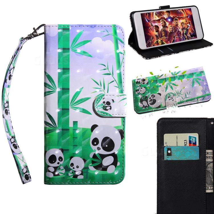 Eating Bamboo Pandas 3D Painted Leather Wallet Case for Huawei Y8p