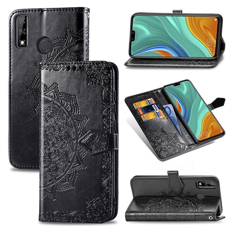 Embossing Imprint Mandala Flower Leather Wallet Case for Huawei Y8s - Black