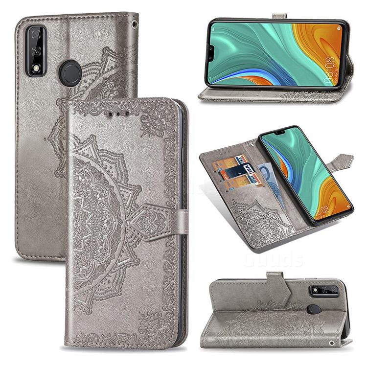 Embossing Imprint Mandala Flower Leather Wallet Case for Huawei Y8s - Gray