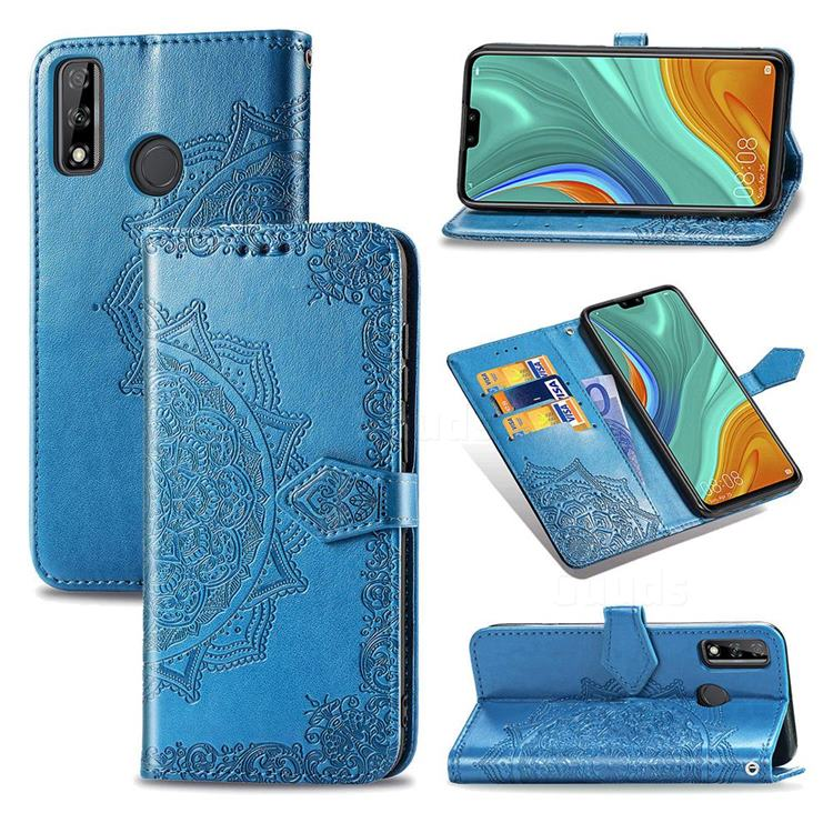 Embossing Imprint Mandala Flower Leather Wallet Case for Huawei Y8s - Blue