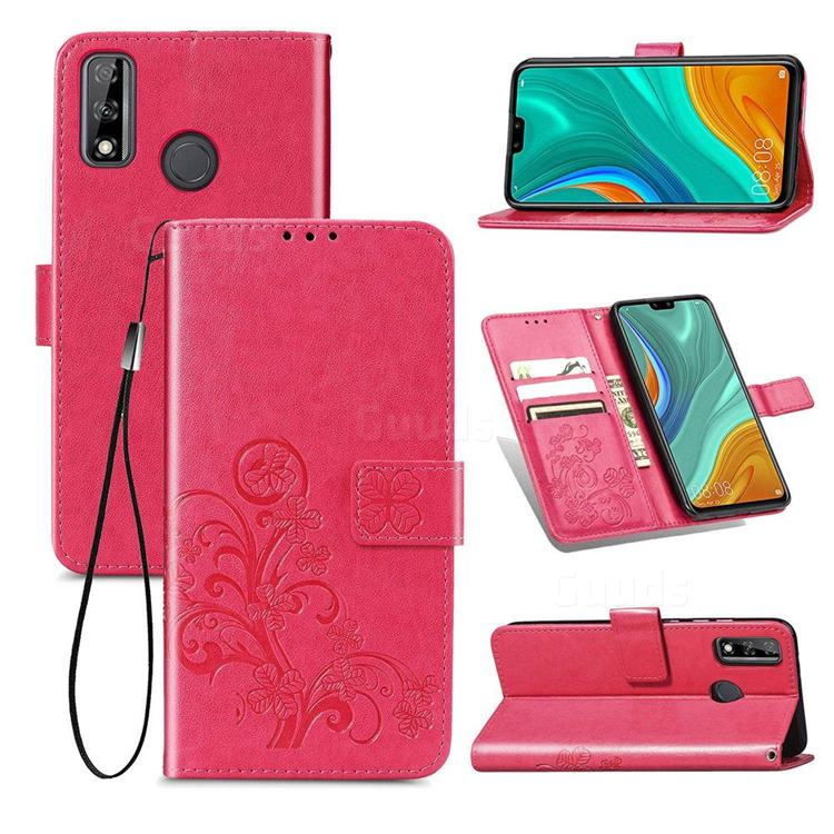 Embossing Imprint Four-Leaf Clover Leather Wallet Case for Huawei Y8s - Rose Red