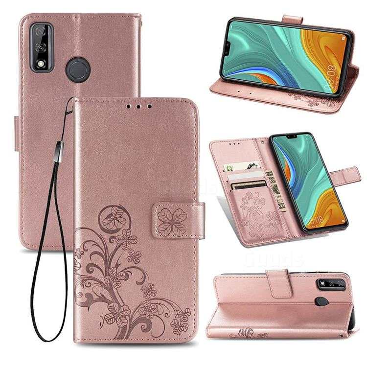 Embossing Imprint Four-Leaf Clover Leather Wallet Case for Huawei Y8s - Rose Gold